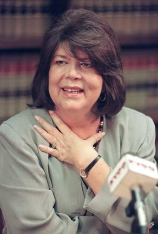 Photo - In this Sept. 19, 1996 file photo, Wilma Mankiller, former principal chief of the Cherokee Nation, gestures during a news conference, in Tulsa, Okla. AP file photo