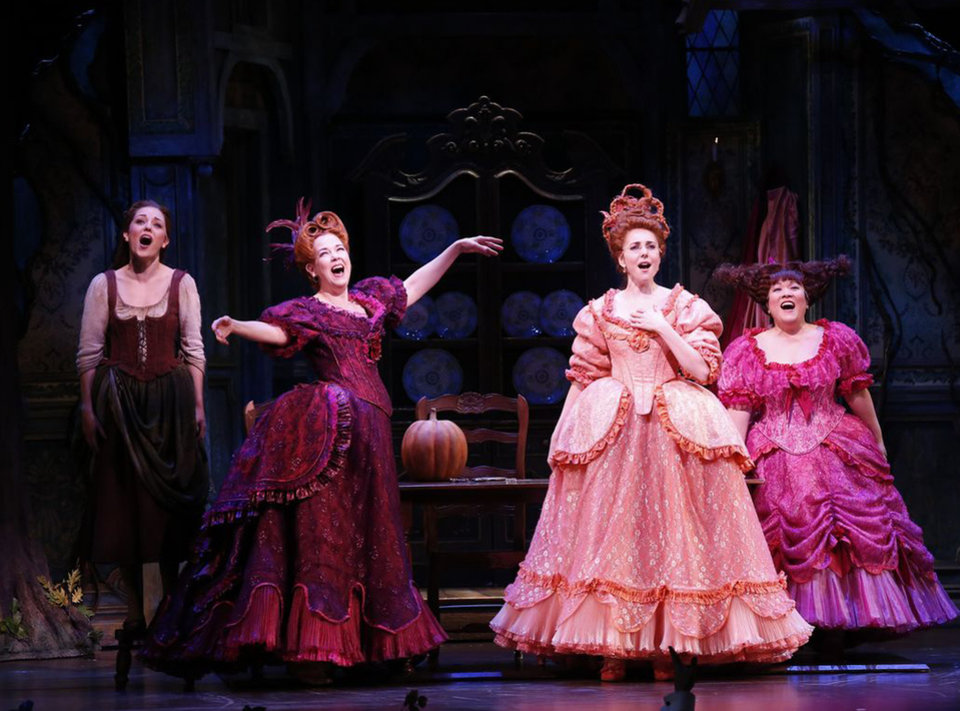 Photo - This theater image released by Sam Rudy Media Relations shows, from left, Laura Osnes as Cinderella, Harriet Harris as Cinderella's stepmother; Marla Mindelle as stepsister Gabrielle and Ann Harada as stepsister Charlotte. during a performance of