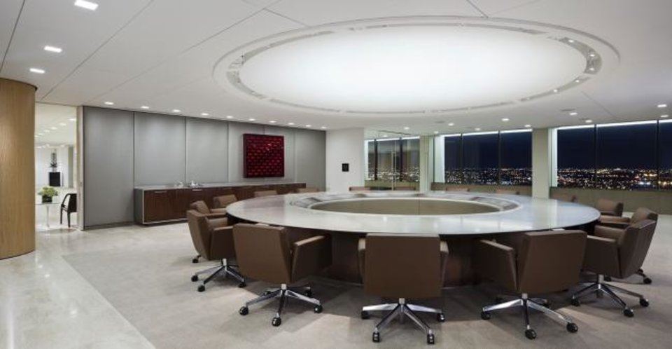 Photo -  The executive floor board room with a custom made conference table and expansive views of the skyline, as shown in this copyright photo by Paul Warchol Photography, is not expected to be a part of any transactions involving state agencies as the tower is set to sell to a group led by Mark Beffort. [MARVEL PARTNERS/PROVIDED]