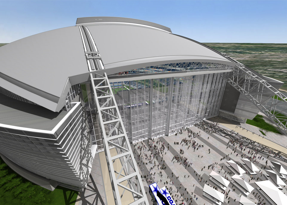 Photo - An artist's rendering shows the end zone doors of the Dallas Cowboys' new stadium under construction in Arlington, Texas. Steel fabricator W&W Steel Co. of Oklahoma City has a $66.9 million contract to construct and erect the massive arches supporting the roof.    ORG XMIT: 0703281408452659