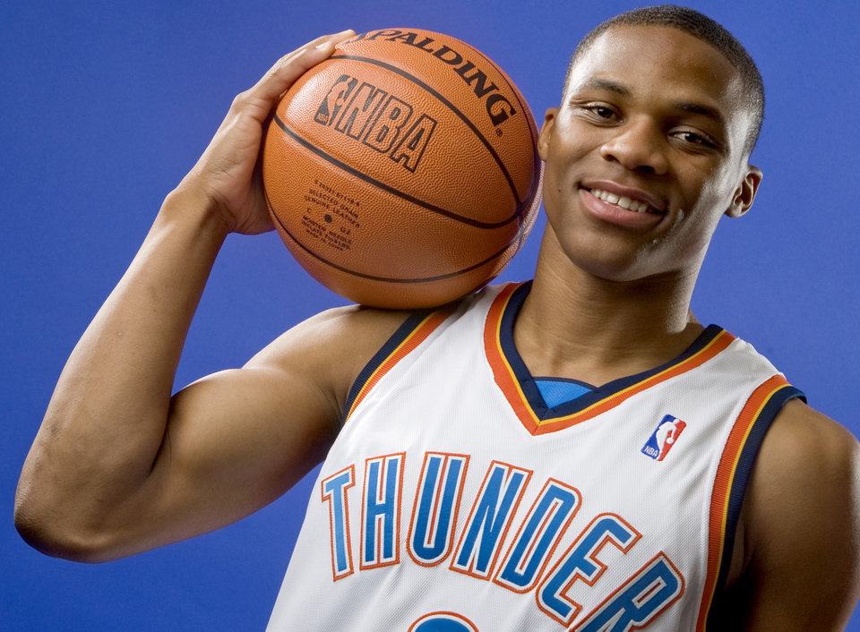 Photo - NBA BASKETBALL TEAM: Russell Westbrook  of the Oklahoma City Thunder poses for a portrait during Thunder media day on Monday, September 29, 2008. BY BRYAN TERRY, THE OKLAHOMAN ORG XMIT: KOD