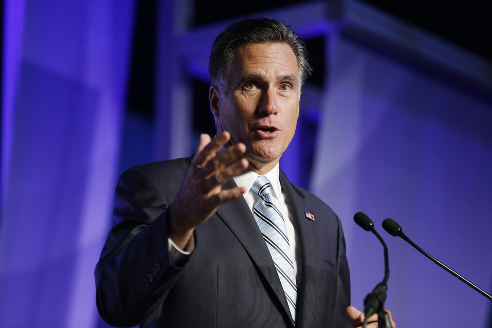 Photo -   Republican presidential candidate and former Massachusetts Gov. Mitt Romney addresses the U.S. Hispanic Chamber of Commerce in Los Angeles, Monday, Sept. 17, 2012. (AP Photo/Charles Dharapak)