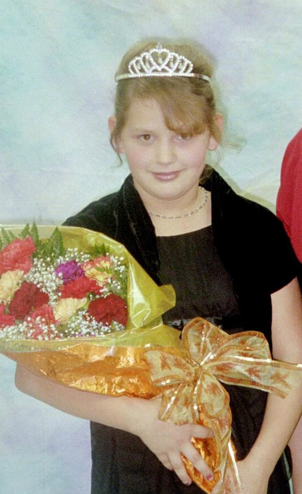 Photo - Taylor Dawn Paschal-Placker is seen in this 2006 photo when she was Elementary Queen at Graham Elementary School. Placker, 13, was one of two girls found shot to death Sunday near Weleetka in Okfuskee County. Photo provided.