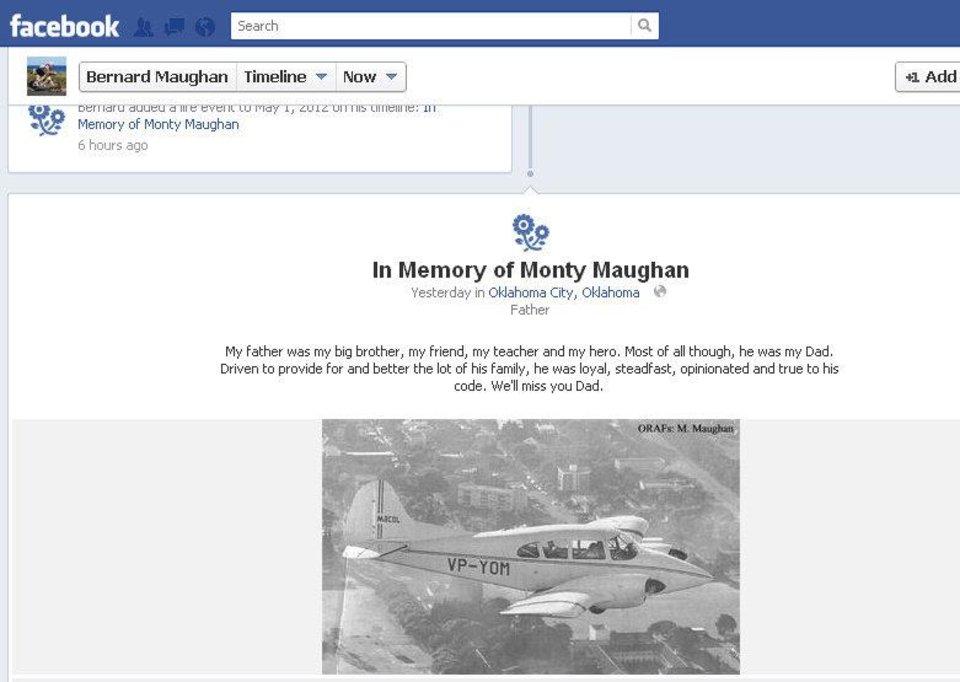 Photo - Monty Maughan's son, Bernard Maughan, remembers his father on his Facebook page.