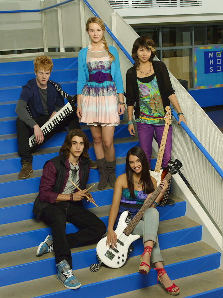 "Disney Channel's ""Lemonade Mouth"" stars Adam Hicks as Wen, Blake Michael as Charlie, Bridgit Mendler as Olivia, Naomi Scott as Mo and Hayley Kiyoko as Stella. - Disney Channel Photo by Bob D'Amico"