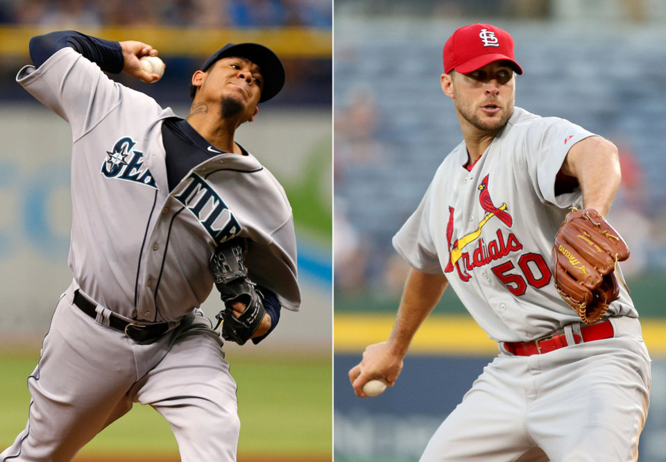 This combination made from file photos shows Seattle Mariners starting pitcher Felix Hernandez, left, and St. Louis Cardinals starting pitcher Adam Wainwright. Hernandez will start Tuesday night's All-Star game for the American League and Wainwright will open for the National League. (AP Photo)