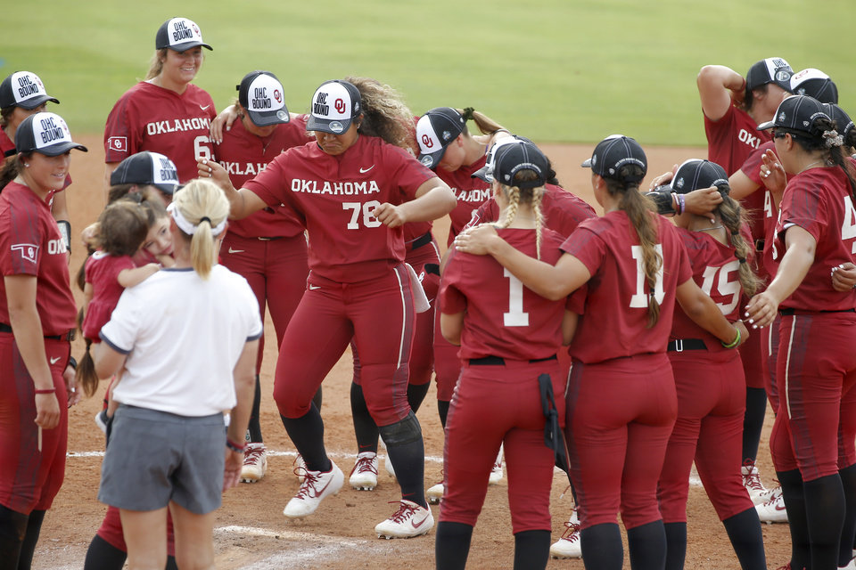Photo - Oklahoma's Jocelyn Alo (78) dances with teammates after the second softball game in the Norman Super Regional between the University of Oklahoma (OU) and Northwestern in Norman, Okla., Saturday, May 25, 2019. Oklahoma won 8-0 to send them to the Women's College World Series. [Bryan Terry/The Oklahoman]