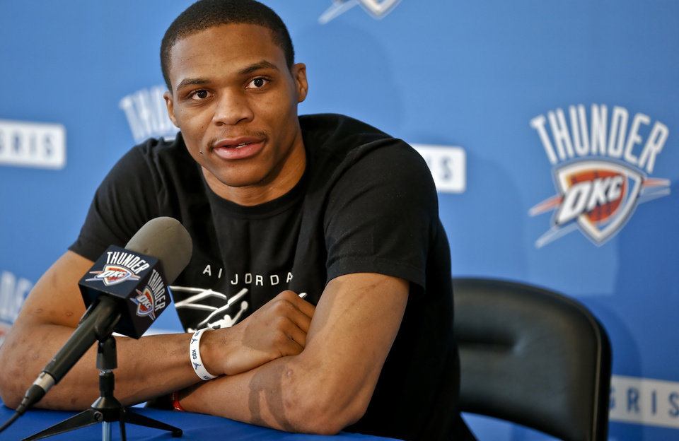 Photo - Oklahoma City Thunder's Russell Westbrook speaks to the media on Thursday, May 9, 2013 in Oklahoma City, Okla. for the first time about his season ending knee injury sustained in a first round NBA playoff game against Houston.  Photo by Chris Landsberger, The Oklahoman