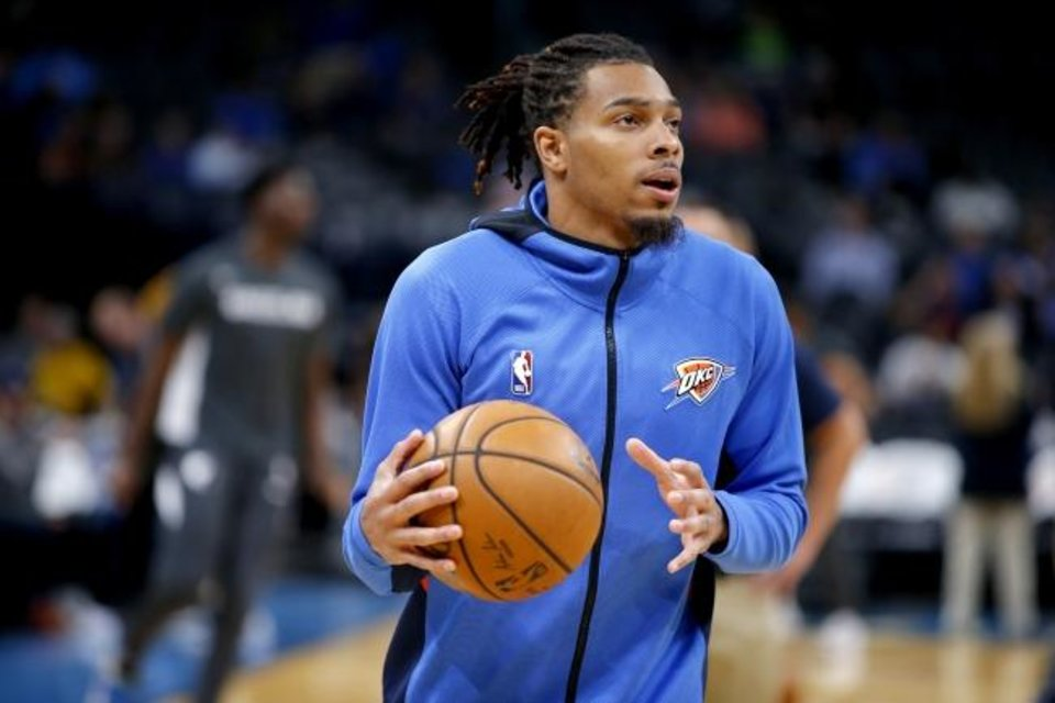Photo -  Oklahoma City's DeVaughn Akoon-Purcell warms up before the Thunder's preseason finale on Wednesday against the Memphis Grizzlies in Chesapeake Energy Arena. He played junior college basketball at Eastern Oklahoma State in Wilburton. [Bryan Terry/The Oklahoman]