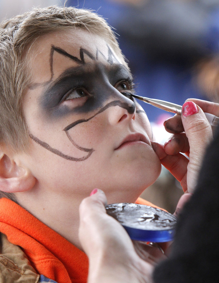 Nine year old Kaleb Ethridge has his face painted during the Jones Old Timers Day celebration in Jones, OK, Saturday, October 6, 2012,  By Paul Hellstern, The Oklahoman