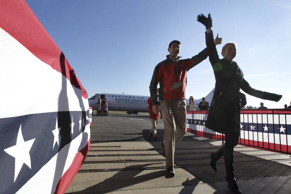 Republican vice presidential candidate, Rep. Paul Ryan, R-Wis., and Janna Ryan, arrive at a campaign event at Richmond International Airport,, Saturday, Nov. 3, 2012 in Richmond, Va. (AP Photo/Mary Altaffer)