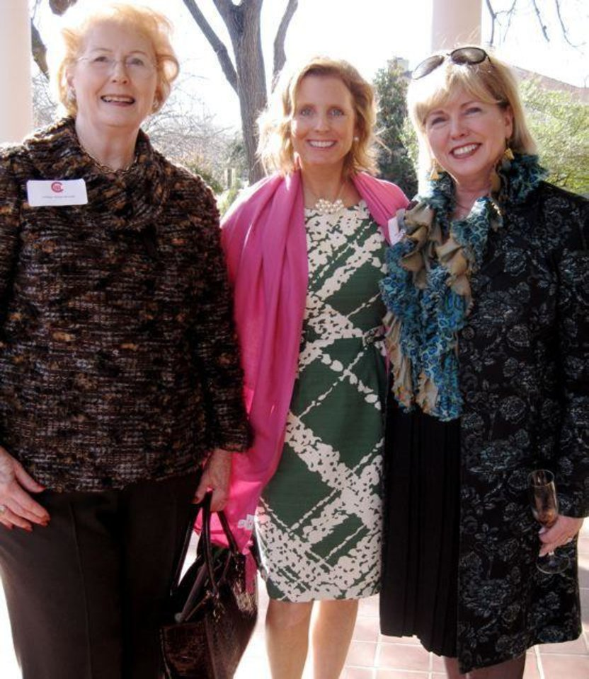 Photo - AFTERNOON TEA...Lil Ross, Molly Fritch and Linda Haneborg were at the  party. ( Photo by Helen Ford Wallace).