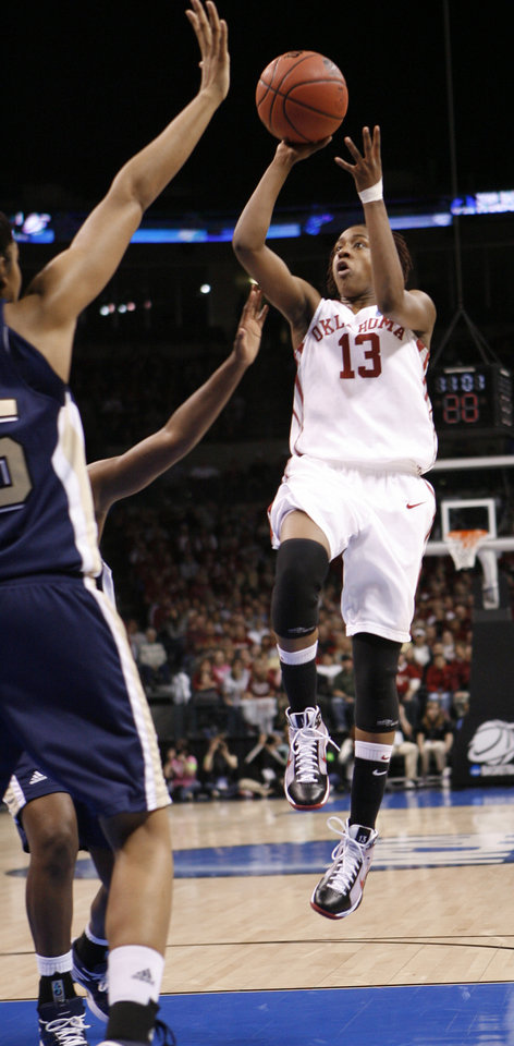 Danielle Robinson shoots in the first half of the NCAA women's basketball tournament game between the University of Oklahoma and Pittsburgh at the Ford Center in Oklahoma City, Okla. on Sunday, March 29, 2009. 