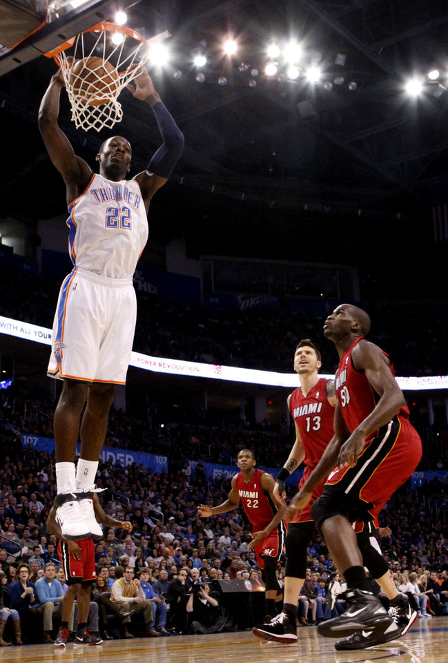 Photo - Oklahoma City's Jeff Green (22) dunks during the NBA basketball game between Oklahoma City and Miami at the OKC Arena in Oklahoma City, Thursday, Jan. 30, 2011. Photo by Sarah Phipps, The Oklahoman