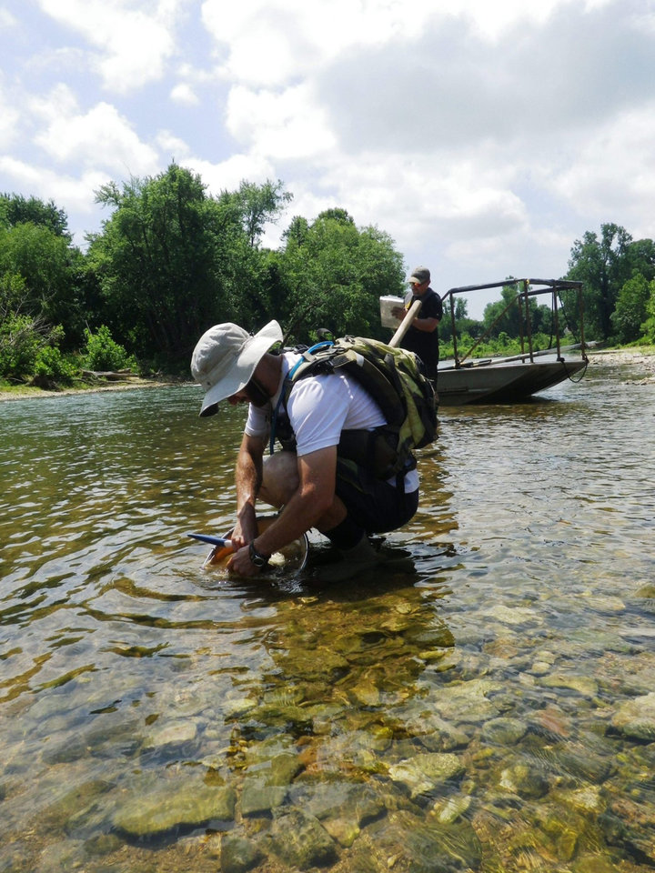 Photo -  An Oklahoma Water Resources Board employee collects aquatic macroinvertebrates, organisms without backbones, from Spring Creek near Murphy. [PHOTO PROVIDED BY OWRB]