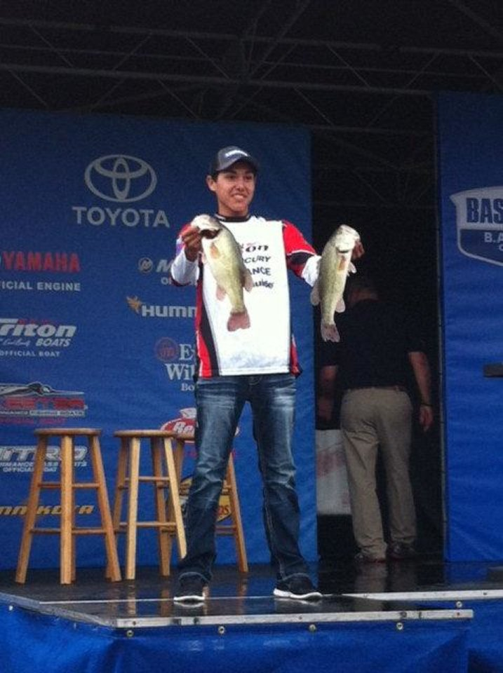 Photo - Trevor Yates on stage during the weigh-in at the Bassmaster Junior World Championship in Arkansas last weekend.  Photo provided