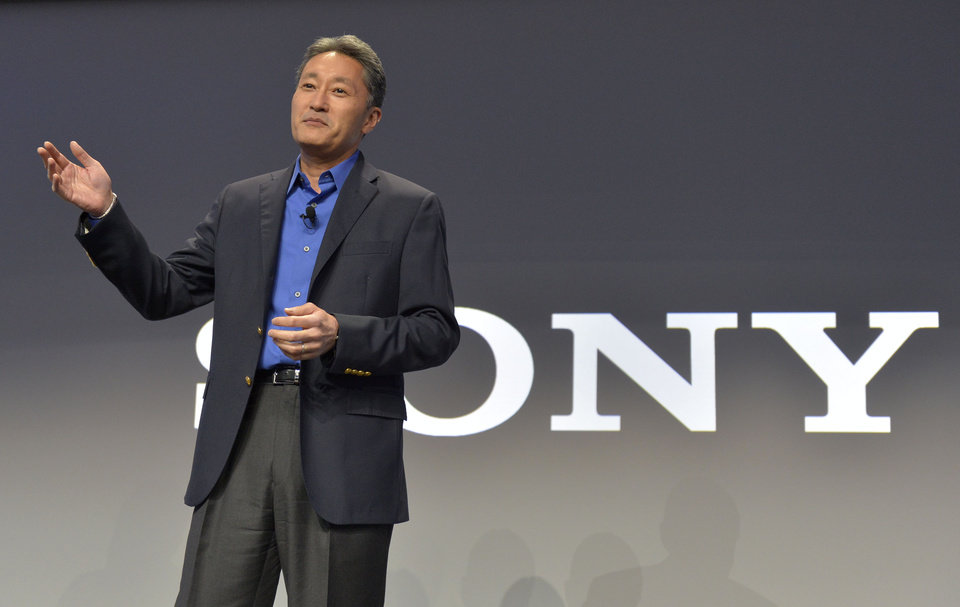 Photo - Kazuo Hirai, president and CEO of Sony Corporation, talks to members of the media during the Sony news conference at the International Consumer Electronics Show Monday, Jan. 6, 2014, in Las Vegas. (AP Photo/Jack Dempsey)