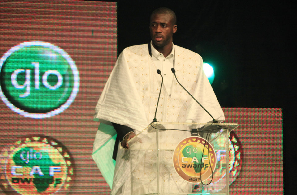 Photo - Yaya Toure, Ivory Coast and Manchester City midfielder, speaks moments he was declared  African soccer player of the year, for a third straight time, at a ceremony in Lagos, Nigeria, Thursday, Jan. 9, 2014.  He beat out fellow Ivorian Didier Drogba, the Galatasaray striker and two-time recipient, and Chelsea midfielder John Obi Mikel of Nigeria.