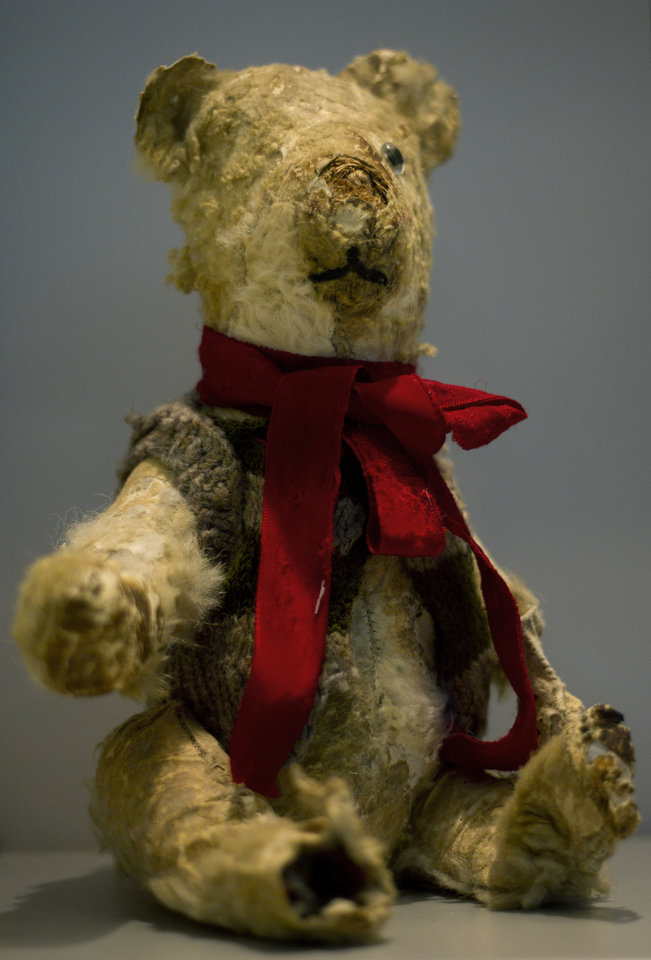 Holocaust survivor Stella Knobel\'s teddy bear on display at the memorial\'s