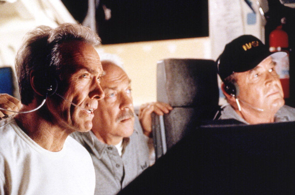 "Photo - From left, Clint Eastwood, Donald Sutherland and James Garner star in the high-tech adventure movie ""Space Cowboys."""
