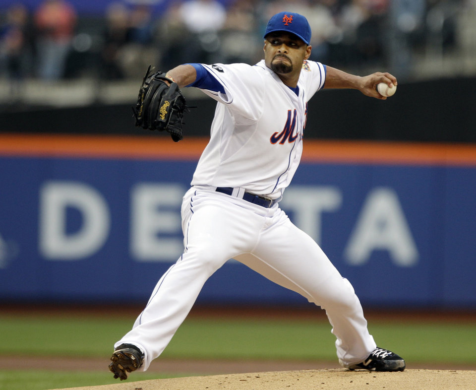 New York Mets' Johan Santana (57) delivers a pitch during the first inning of a baseball game against the Arizona Diamondbacks, Saturday, May 5, 2012, in New York. (AP Photo/Frank Franklin)