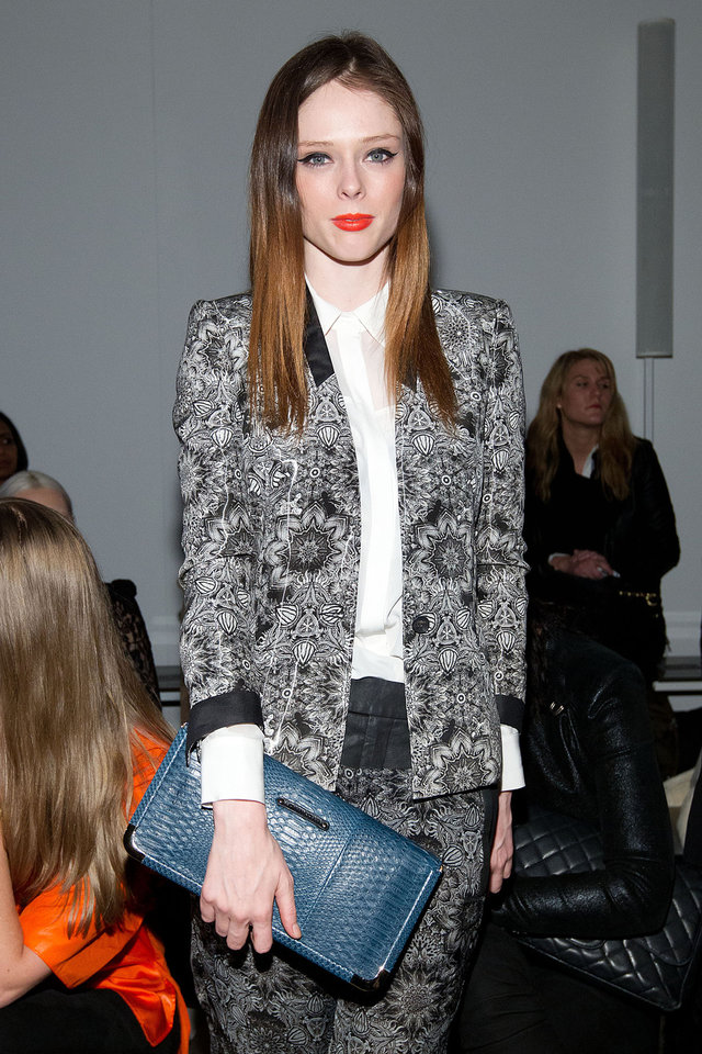 Model Coco Rocha attends the Fall 2013 Helmut Lang Runway Show on Friday, Feb., 8, 2013 during Fashion Week in New York. (Photo by Dario Cantatore/Invision/AP)