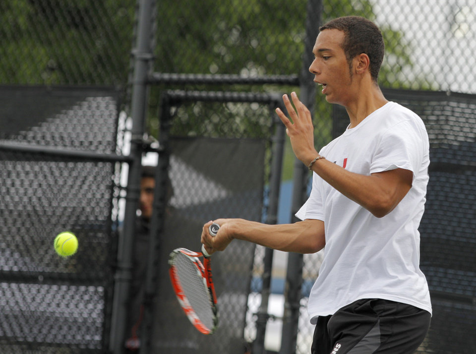 Photo - Josh Coleman, of Union, competes in 6A Boys Singles during the 2012 OSSAA Boys High School State Tennis Tournament at the OKC Tennis Center at Will Rogers Park in Oklahoma City, Saturday, May 12, 2012.  Photo by Garett Fisbeck, For The Oklahoman