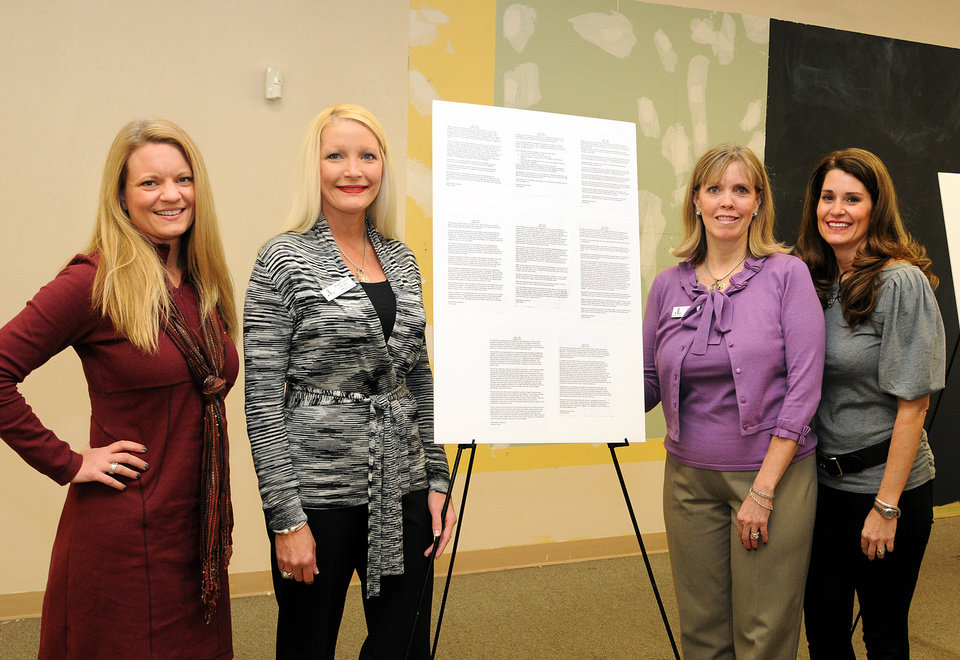 Kristi Leonard, Whitney Tero, Cristi Reiger, Kristen Brown look at Remarkable Shop reports. (Photo by David Faytinger).