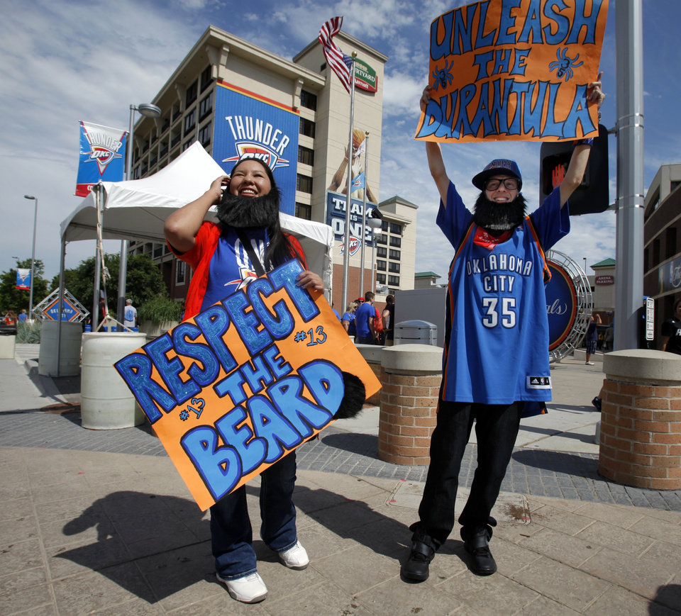 Candace Chalakee and Justin Jones, both from Lawton, wear their Thunder gear and beards before the first game of the NBA basketball finals at the Chesapeake Arena on Tuesday, June 12, 2012 in Oklahoma City, Okla.  Photo by Steve Sisney, The Oklahoman