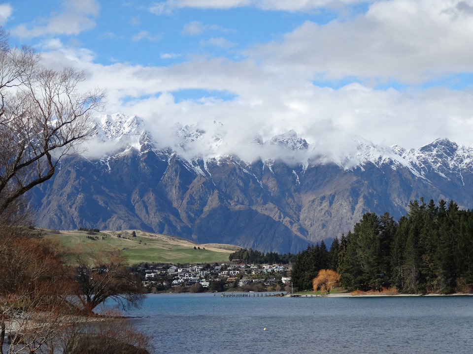 Photo - Clouds roll off the Remarkables mountain range, in the view from Queenstown Gardens facing southeast.  PHOTO BY DAMON FONTENOT, THE OKLAHOMAN