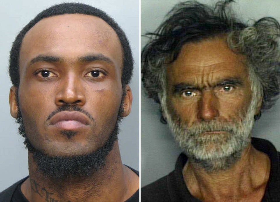 Photo -   This combo made with undated photos made available by the Miami-Dade Police Dept. shows Rudy Eugene, 31, left, who police shot and killed as he ate the face of Ronald Poppo, 65, right, during a horrific attack in the shadow of the Miami Herald's headquarters on Saturday, May 26, 2012. Poppo was in critical condition Tuesday, with only his goatee intact on his face, the newspaper reported. (AP Photo/Miami-Dade Police Dept.)
