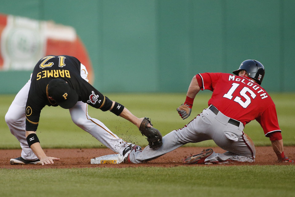 Photo - Washington Nationals' Nate McLouth (15) gets his foot to the second base bag before the tag by Pittsburgh Pirates shortstop Clint Barmes (12) for a stolen base during the fourth inning of a baseball game in Pittsburgh, Saturday, May 24, 2014. (AP Photo/Gene J. Puskar)