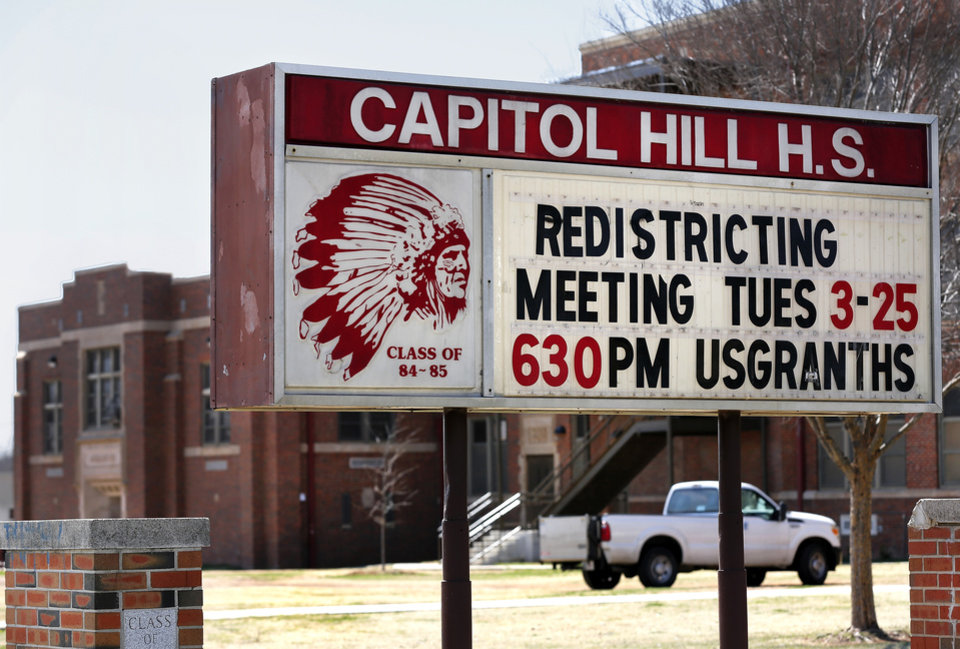 Photo -                    The Capitol Hill High School marquee is shown in March.                     Photo by Jim Beckel,                                                          The Oklahoman Archives