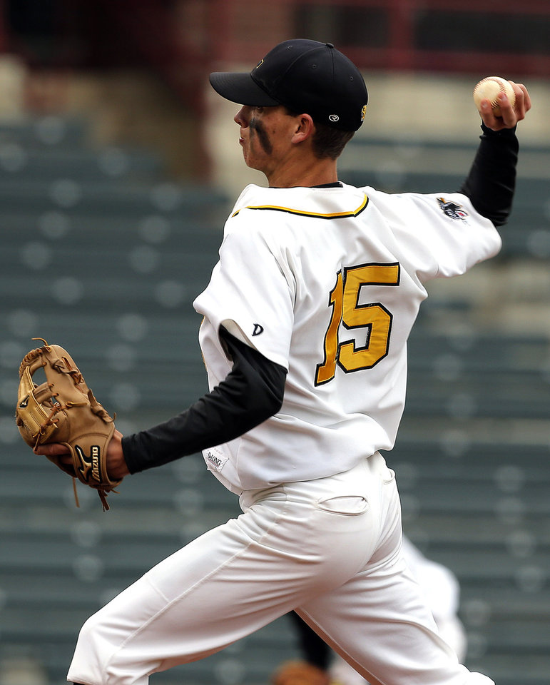 Latta's Kade Hayes pitches during the Class A Fall baseball state championships between Dale and Latta at the Chickasaw Bricktown Ballpark in Oklahoma City,  Saturday, Oct. 6, 2012. Photo by Sarah Phipps, The Oklahoman
