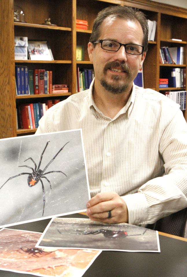 BLACK WIDOW SPIDER BITES: Oklahoma Poison Control center's Scott Schaeffer discusses the higher number of calls about black widow spiders this summer, Wednesday, August 22, 2012. Photo By David McDaniel/The Oklahoman