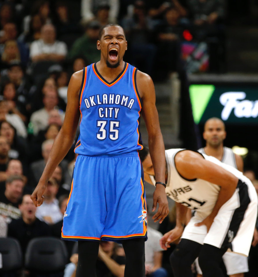 Photo - Oklahoma City's Kevin Durant celwbrates after a basket and a foul during Game 2 of the second-round series between the Oklahoma City Thunder and the San Antonio Spurs in the NBA playoffs at the AT&T Center in San Antonio, Monday, May 2, 2016. Photo by Bryan Terry, The Oklahoman