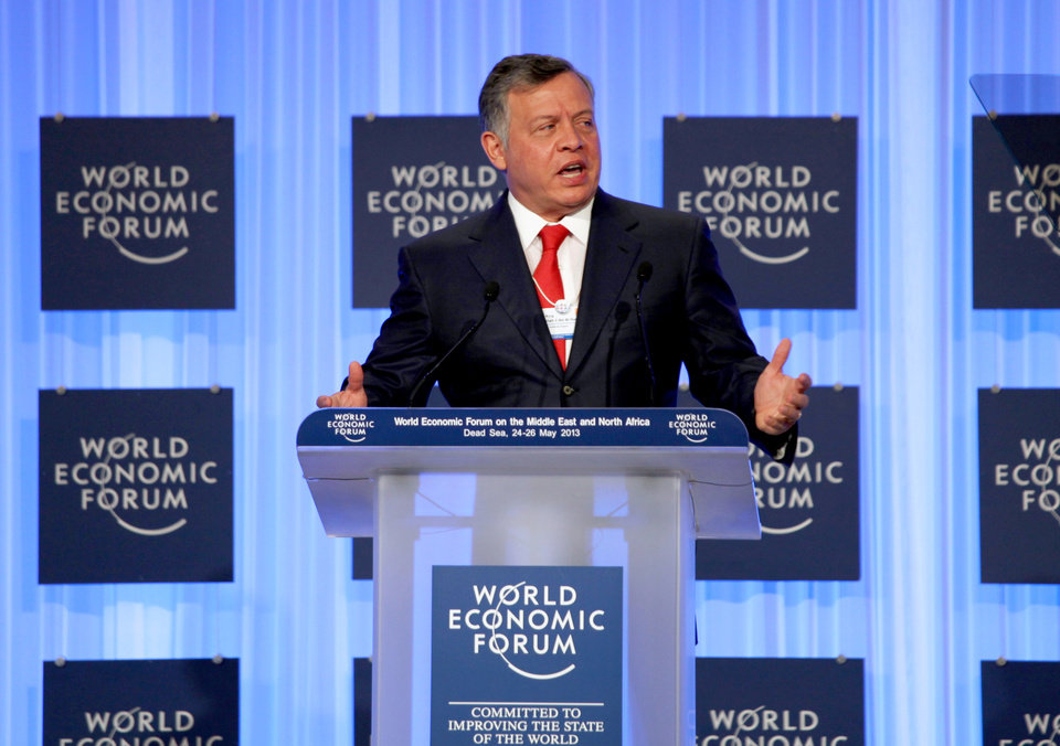 King Abdullah II of Jordan gives the opening speech at the World Economic Forum, held at the King Hussein Bin Talal Convention center, in Southern Shuneh, 34 miles (55 kilometers) southeast of Amman, Jordan,  Saturday, May 25, 2013.  (AP Photo/Mohammad Hannon)