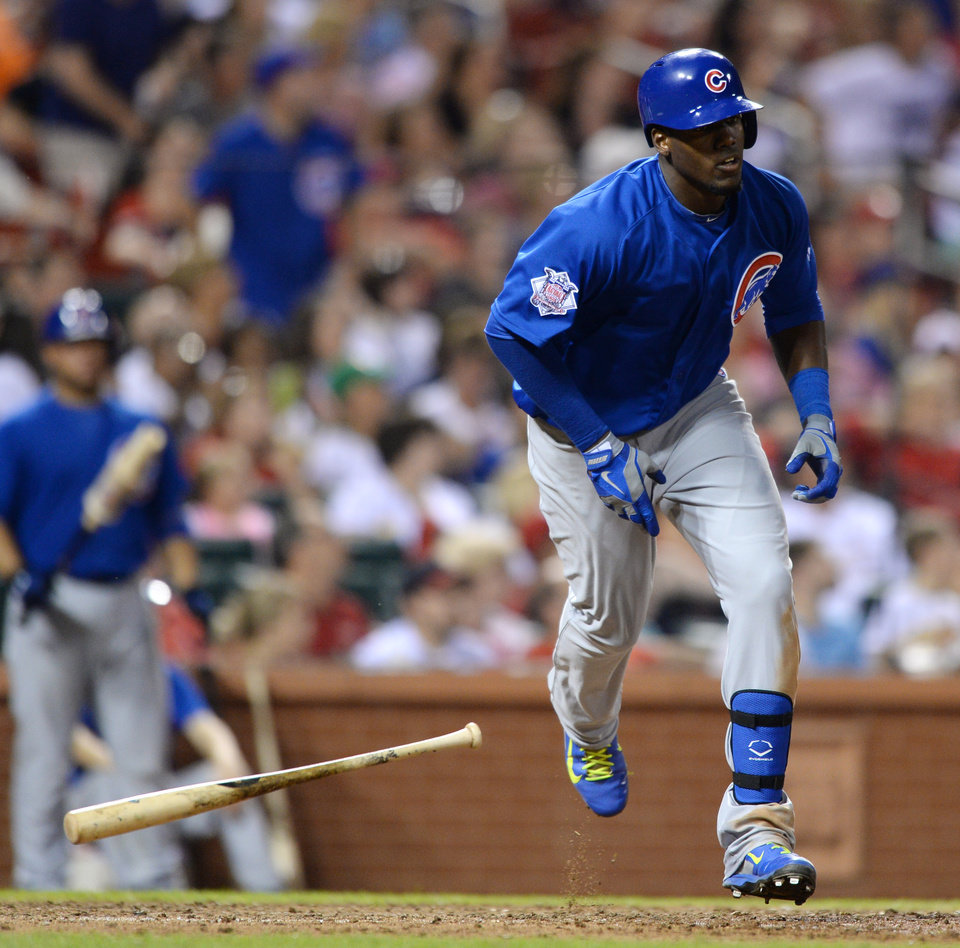 Photo - Chicago Cubs' Jorge Soler heads to first on his two-run home run against the St. Louis Cardinals in the eighth inning of a baseball game, Friday, Aug. 29, 2014, at Busch Stadium in St. Louis. (AP Photo/Bill Boyce)