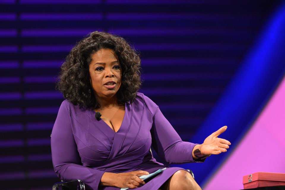 Photo - This image released by the  Women in the World Conference OWN CEO Oprah Winfrey, during a panel discussion called