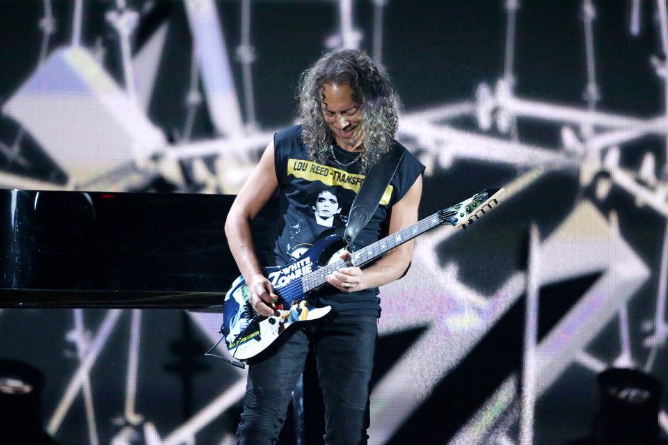 """Photo - Kirk Hammett of Metallica performs """"One"""" on stage at the 56th annual Grammy Awards at Staples Center on Sunday, Jan. 26, 2014, in Los Angeles. (Photo by Matt Sayles/Invision/AP)"""