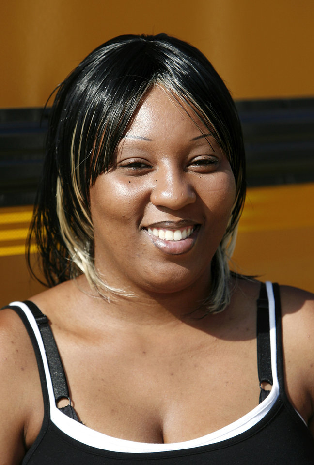 LaWanda Carolina is a bus driver trainee with the Oklahoma City Public Schools. She was photographed at the district's transportation center in northeast Oklahoma City, Thursday,  Aug. 7, 2008.   BY JIM BECKEL, THE OKLAHOMAN