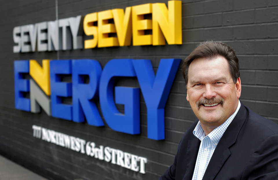 Photo - Seventy Seven Energy's CEO Jerry Winchester is seen in front of the company's logo. Photo by Jim Beckel, The Oklahoman