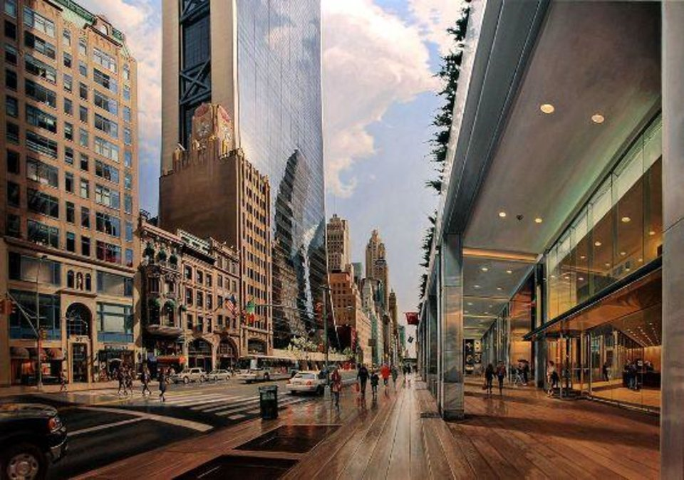 "Robert Neffson (American, born 1949). ""57th Street,"" 2011. Oil on linen. Bernarducci.Meisel.Gallery, New York . Courtesy International Arts"