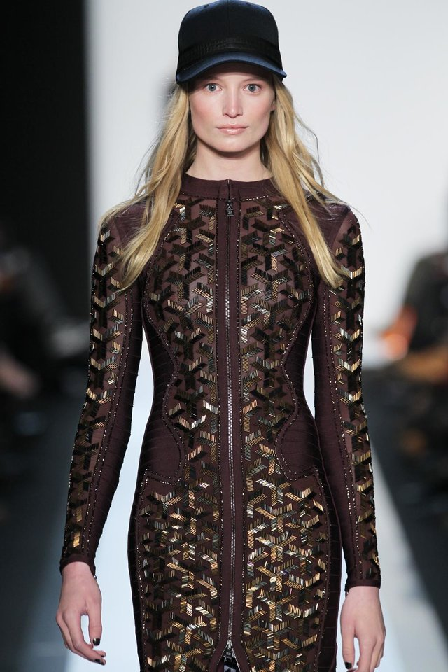 Photo - In this photo provided by Herve Leger, a model walks the runway during the Herve Leger Fall 2013 fashion show during Fashion Week, Saturday, Feb. 9, 2013, in New York. (AP Photo/Herve Leger)