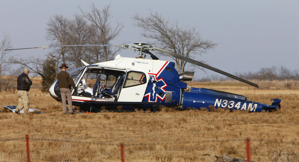 The Mediflight helicopter's pilot, two nurses and a paramedic were injured in the emergency landing.