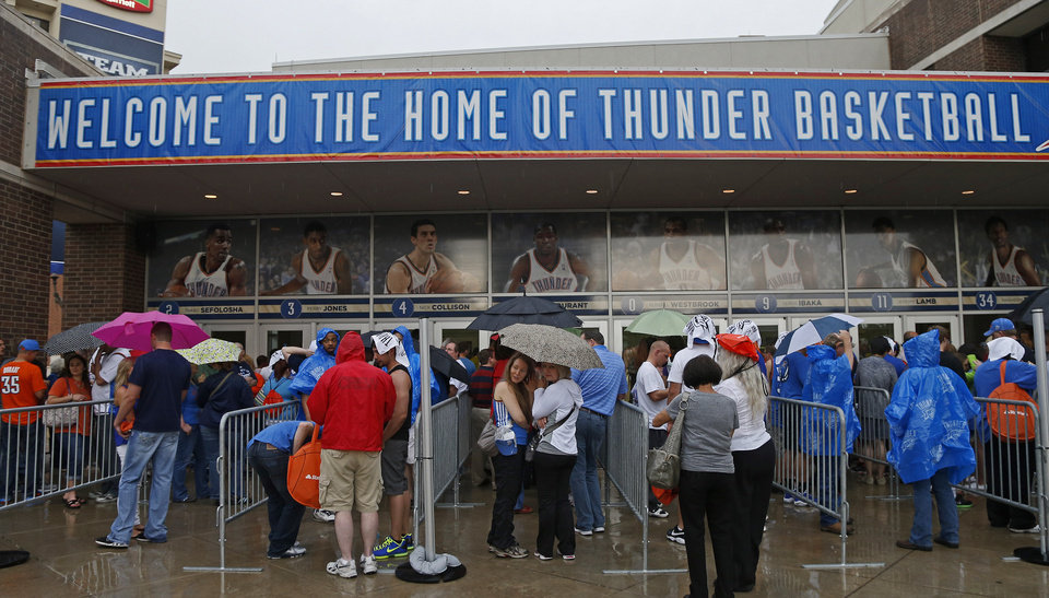 Fan line up before Game 5 in the second round of the NBA playoffs between the Oklahoma City Thunder and the Memphis Grizzlies at Chesapeake Energy Arena in Oklahoma City, Wednesday, May 15, 2013. Photo by Bryan Terry, The Oklahoman