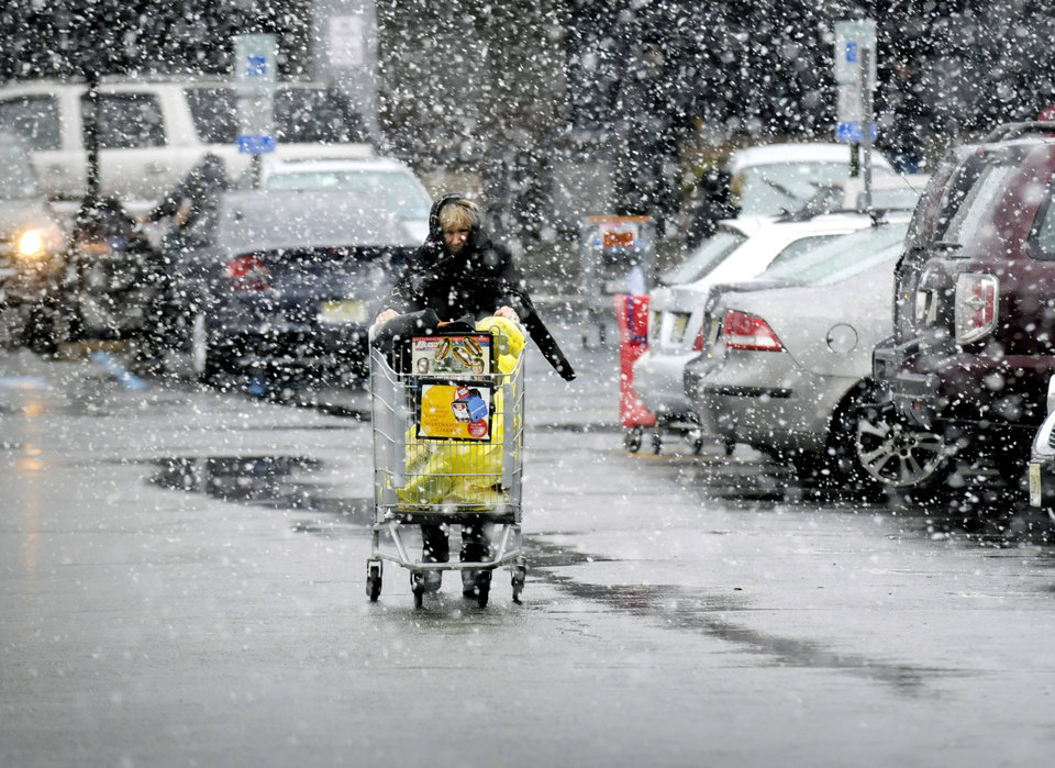 A shopper stocks up on groceries in the snow at a ShopRite in Paramus, N.J., Wednesday, Nov. 7, 2012. (AP Photo/The Record of Bergen County, Carmine Galasso) ONLINE OUT; MAGS OUT; TV OUT; INTERNET OUT; NO ARCHIVING; MANDATORY CREDIT