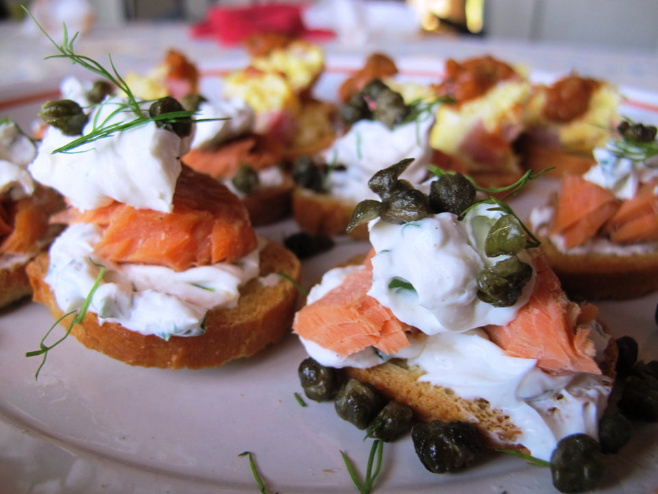 Photo - Seattle Sea-Lox Toast is perfect for the Seahawks spread on Super Bowl Sunday.  DAVE CATHEY - THE OKLAHOMAN