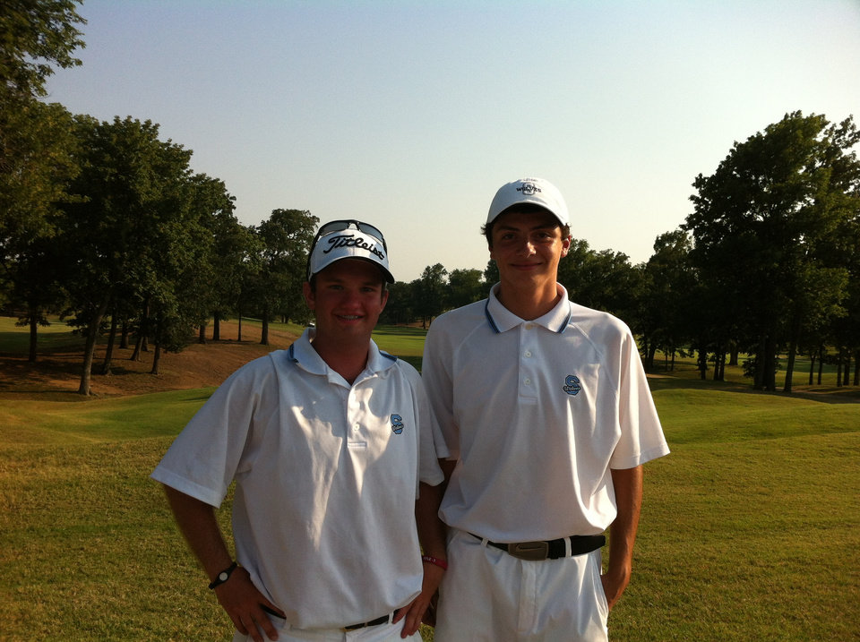 Shawnee junior-to-be Daniel Langley (left) qualified for the state amateur Tuesday with a round that included a hole-in-one on No. 15 at Tulsa\'s Page Belcher.