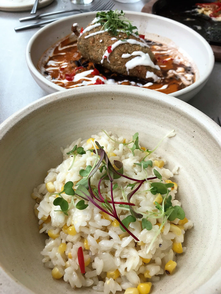 Photo - Truffled Corn Risotto and a Pepita-encrusted Chile Relleno from Frida Southwest, opening Friday in Oklahoma City's Paseo Arts District. [Dave Cathey/The Oklahoman]